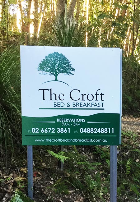 The CROFT Bed and Breakfast sign